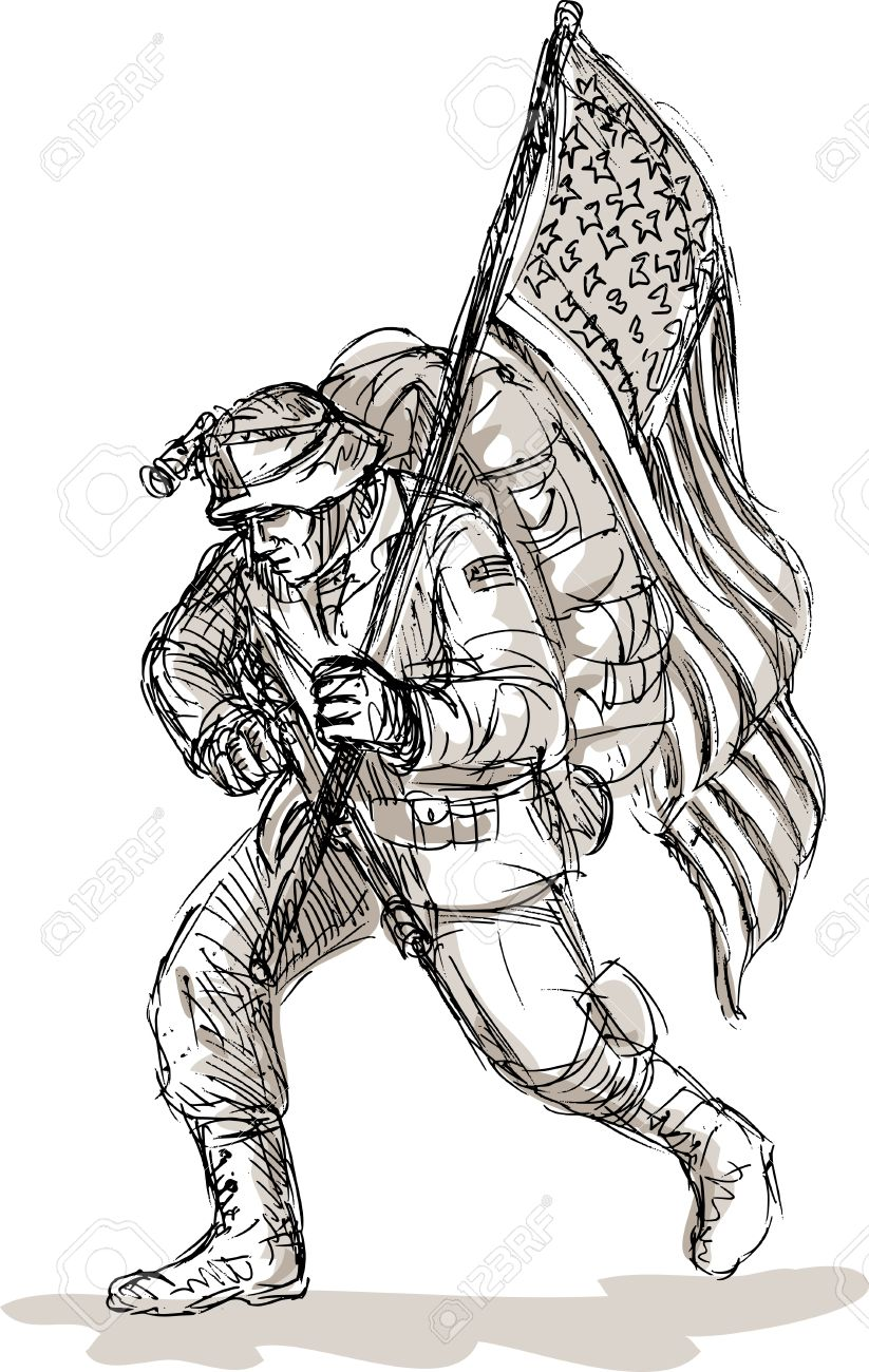 Hand Drawn Sketch Of A Dejected American Soldier In Full Battle
