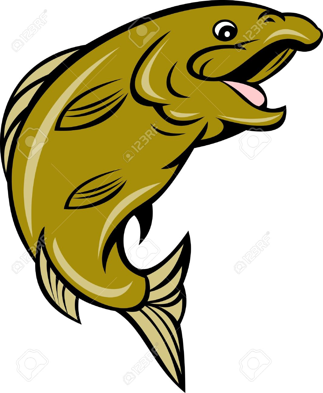 illustration of a cartoon trout fish jumping side isolated on white Stock Illustration - 8411232