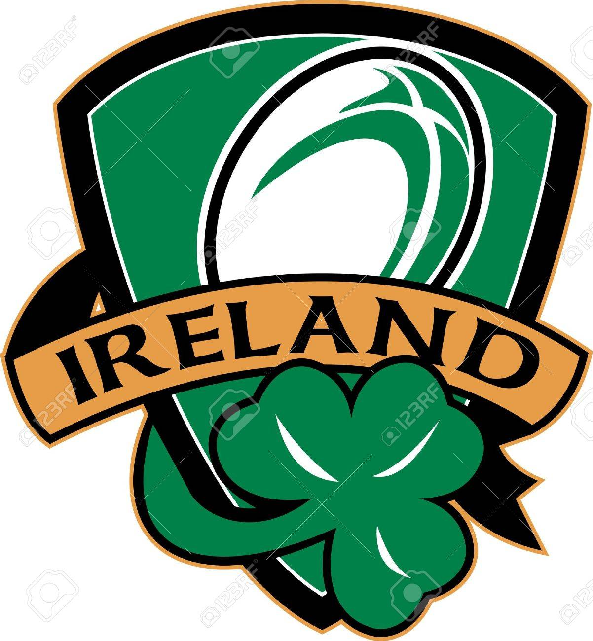 Illustration Of A Shield With Rugby Ball And Shamrock With Words