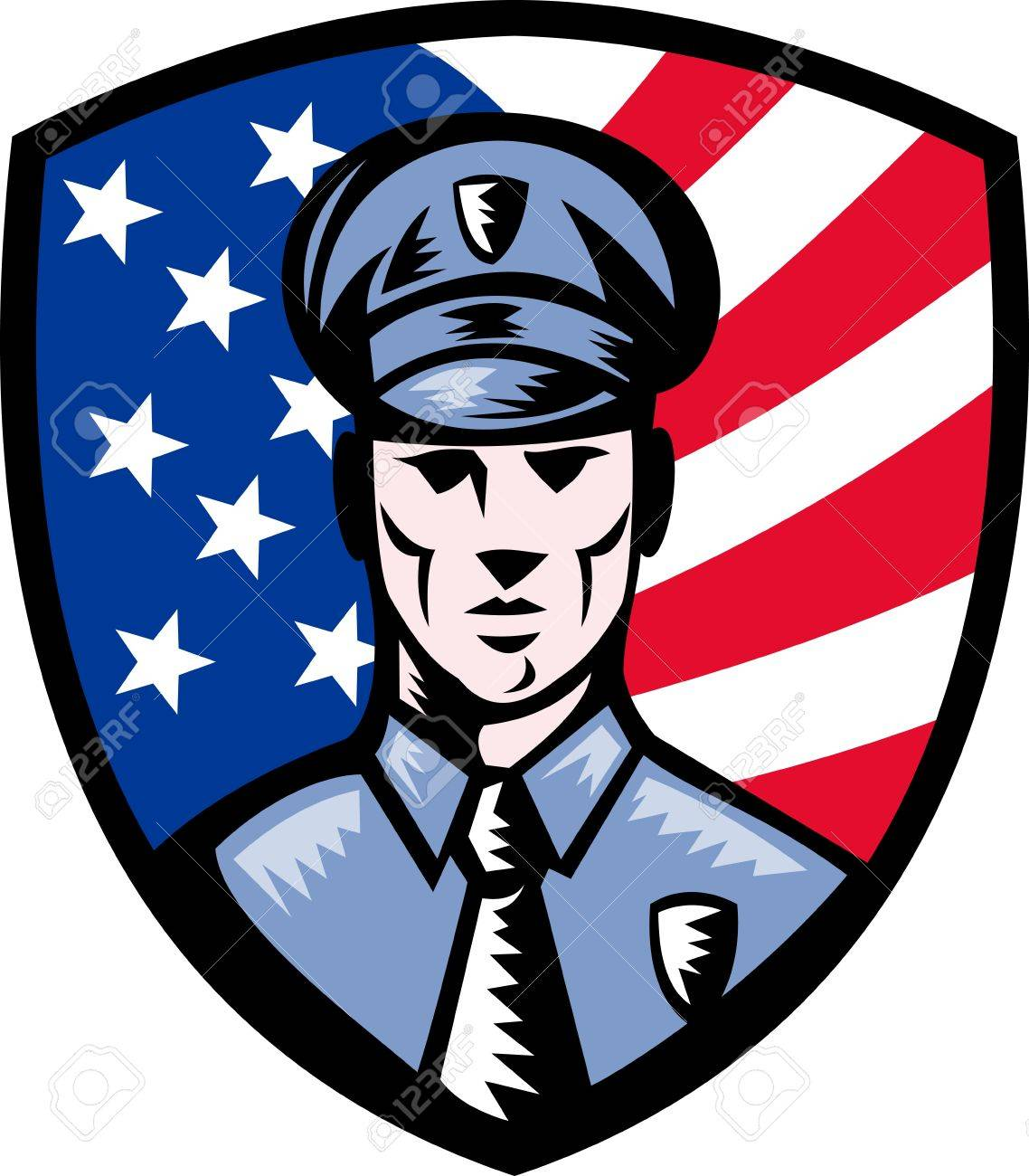 illustration of a Policeman Police Officer facing front with American stars and stripes flag in background set inside shield isolated on white. Stock Illustration - 8781234
