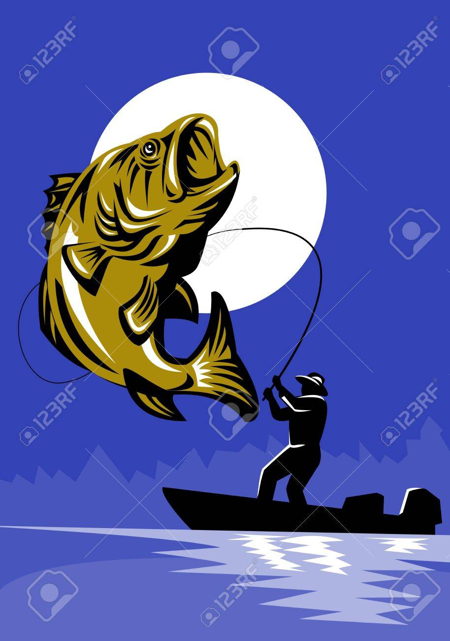 illustration of a Largemouth Bass Fish jumping being reeled by Fly Fisherman on bass boat with Fishing rod  done in retro style Stock Illustration - 9086853