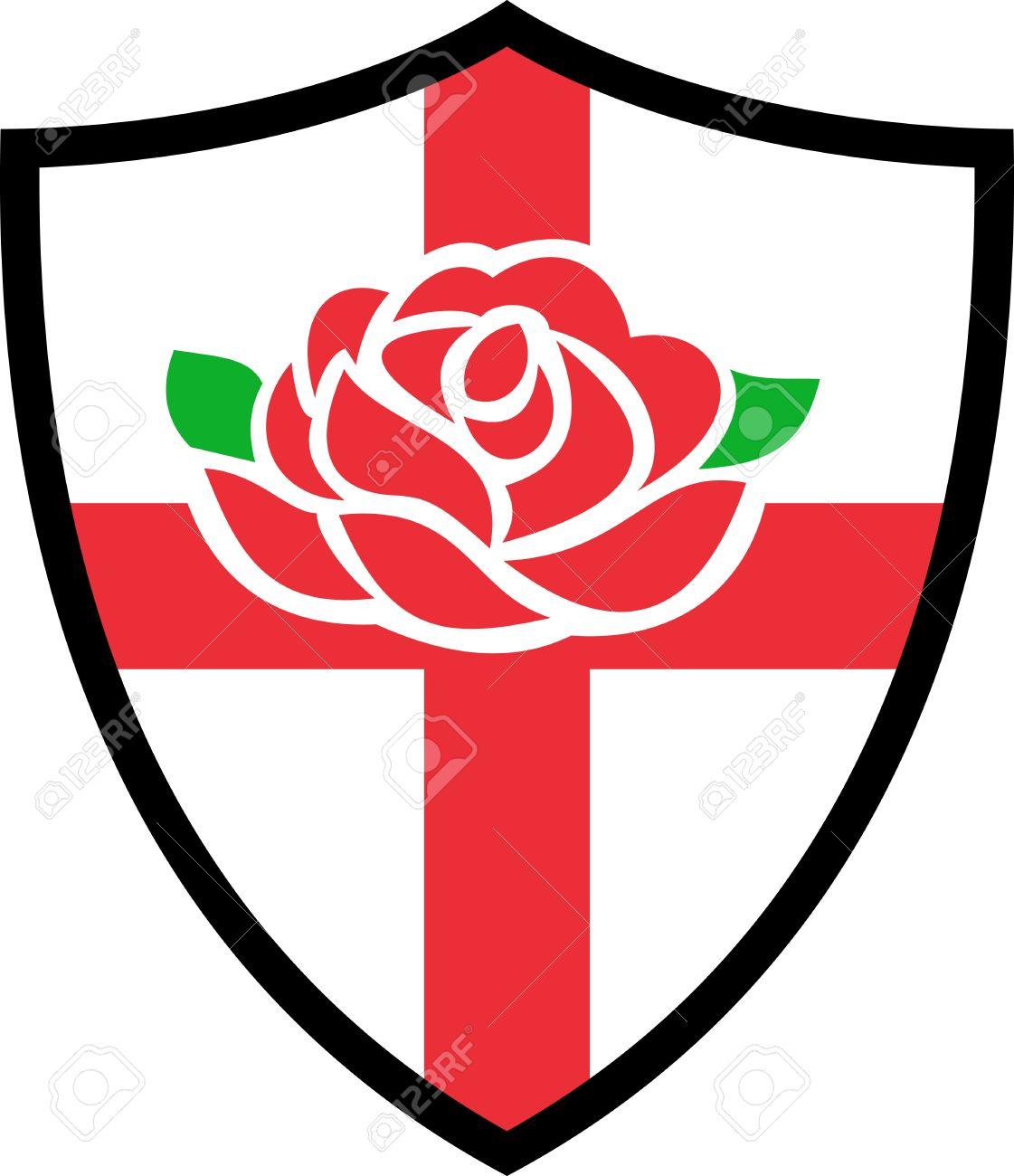 Illustration D Une Anglaise Rose Rouge Avec Drapeau De L Angleterre