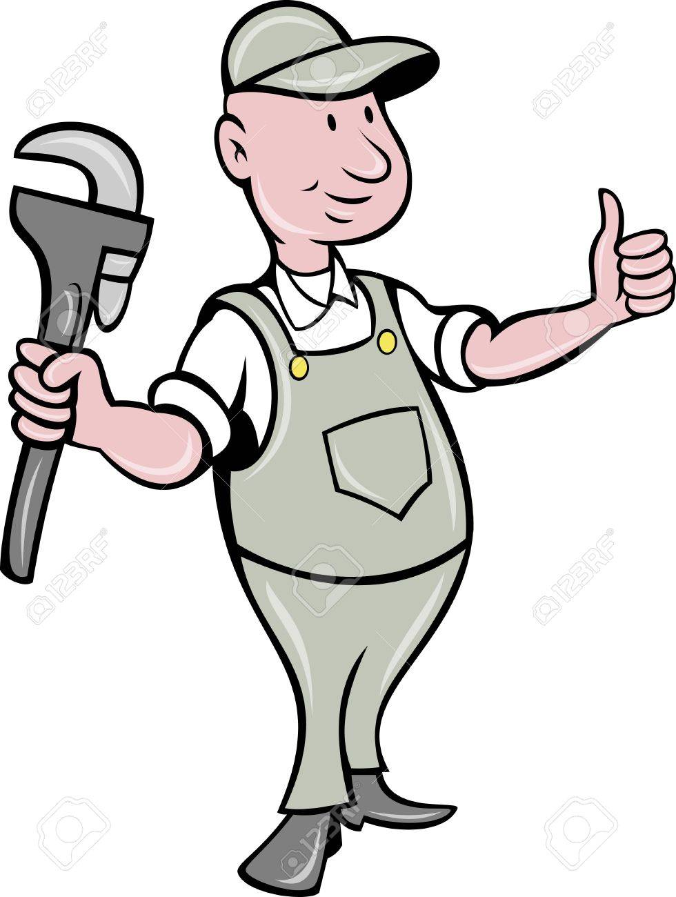 illustration of a plumber with monkey wrench thumbs up done in cartoon style on isolated background Stock Illustration - 9707319