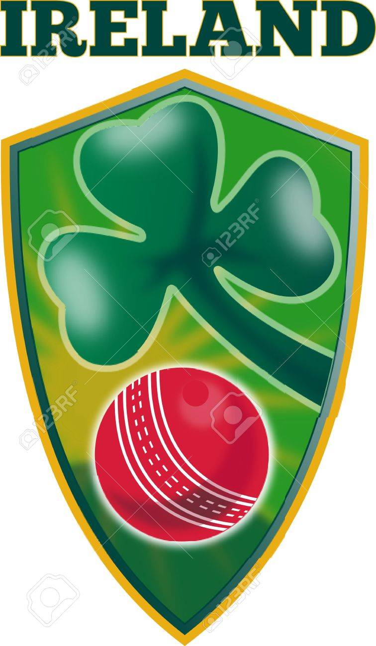 illustration of a cricket set inside shield with shamrock clover leaf isolated on white and words Ireland Stock Photo - 9794151