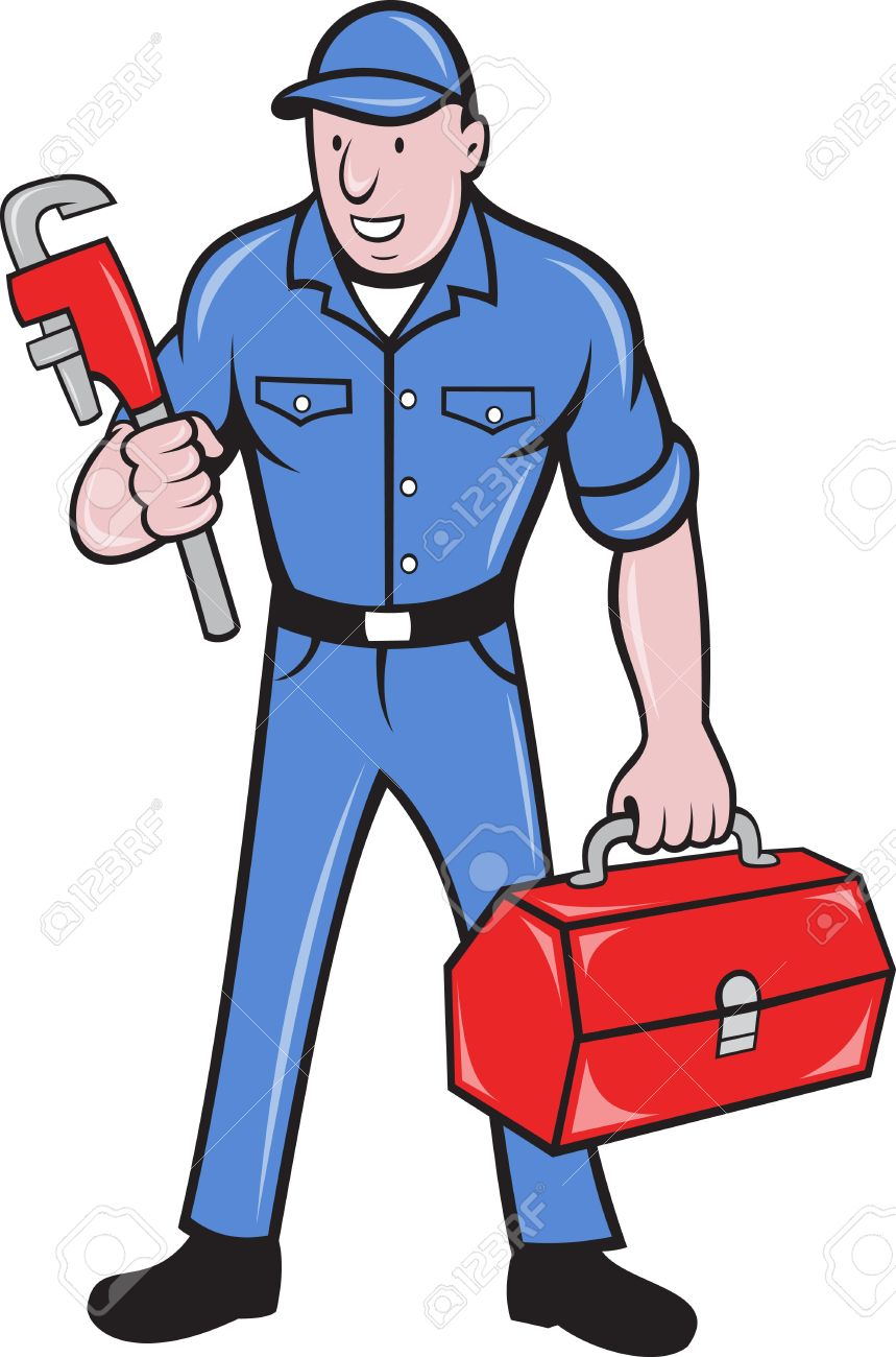 illustration of a plumber repairman tradesman holding monkey wrench and toolbox standing on isolated background done in cartoon style. Stock Illustration - 9920140