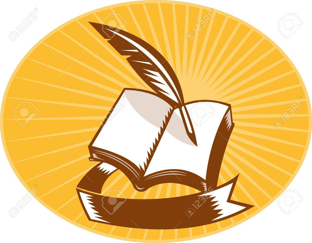 illustration of a book with quill pen and scroll set inside an oval with sunburst in background done in woodcut style. Stock Illustration - 10561278