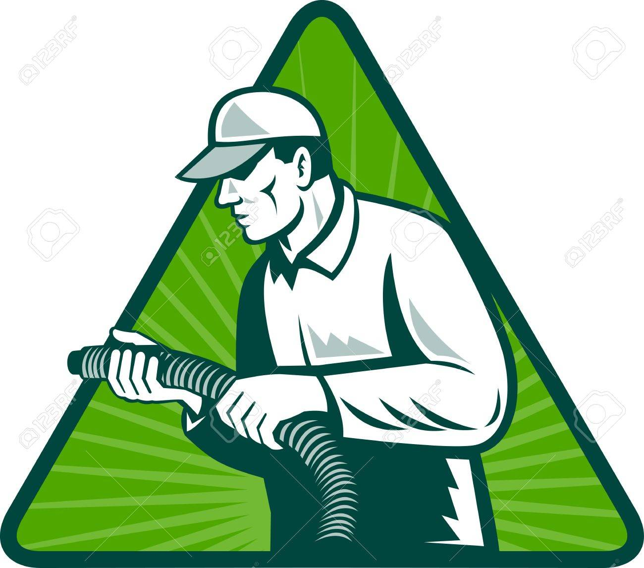 illustration of a tradesman home insulation technician holding a hose viewed from side set inside triangle with sunburst in background Stock Illustration - 10561227