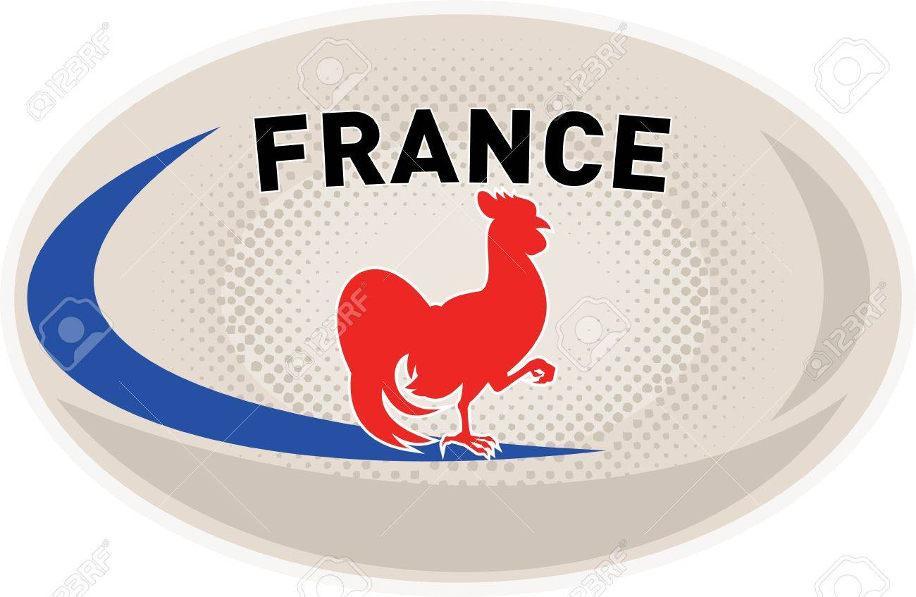 illustration of a rugby ball with french rooster cockerel and rh 123rf com Birthday Clip Art Rooster De Colores Rooster Clip Art