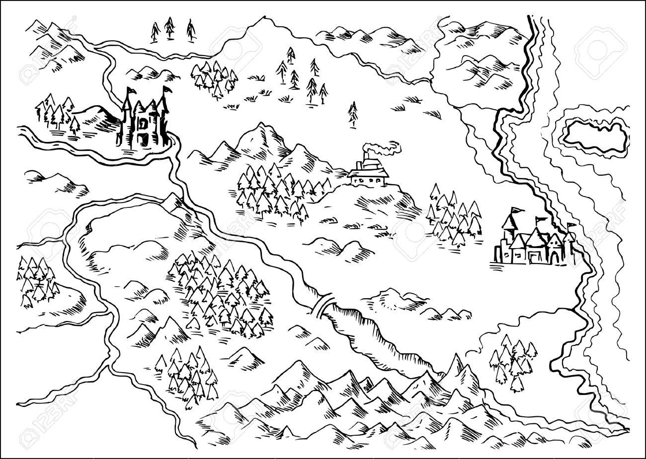 Fantasy Karte.Stock Photo