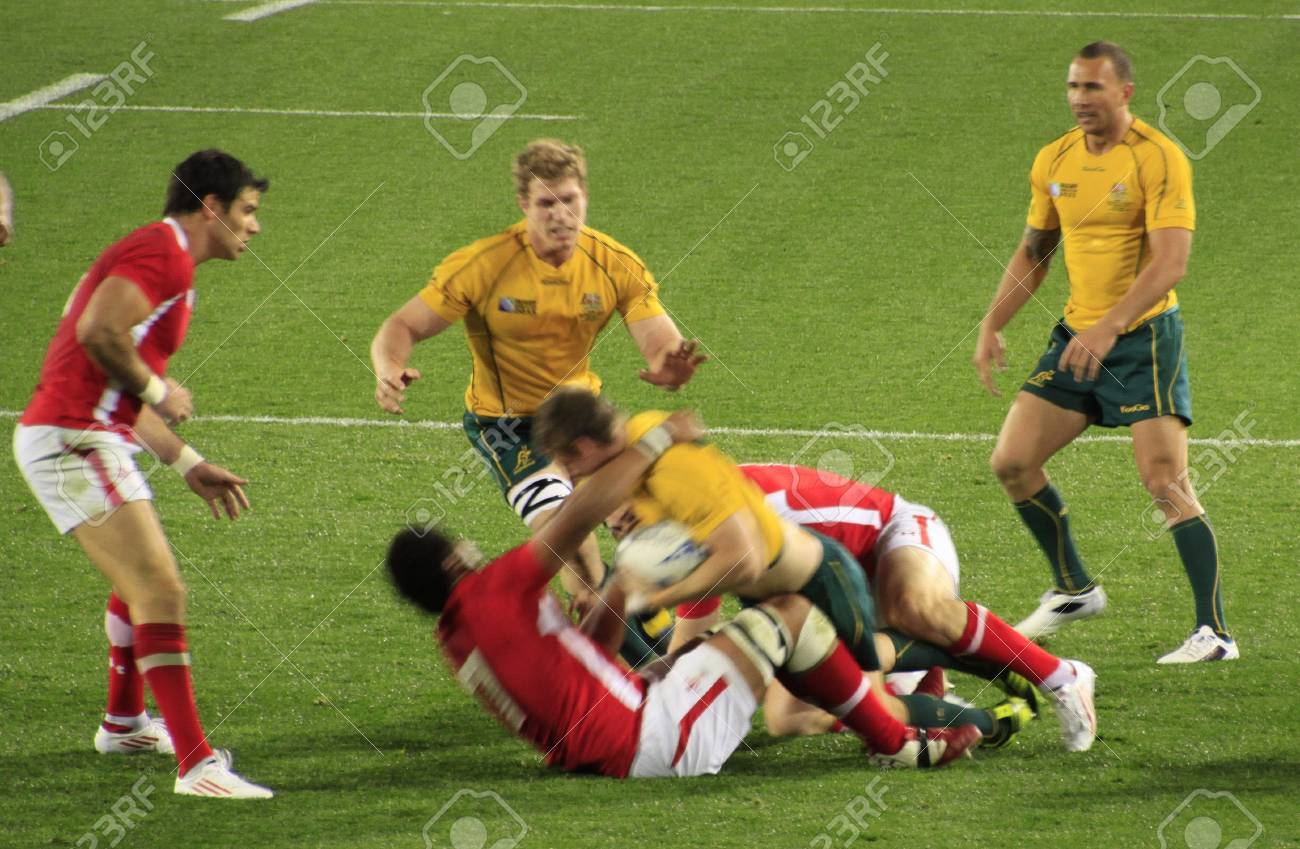 Rugby World Cup 2011 bronze third place match between Australia and Wales at the Eden Park Rugby Stadium in Auckland, New Zealand on Friday October 21, 2011. Stock Photo - 10950544