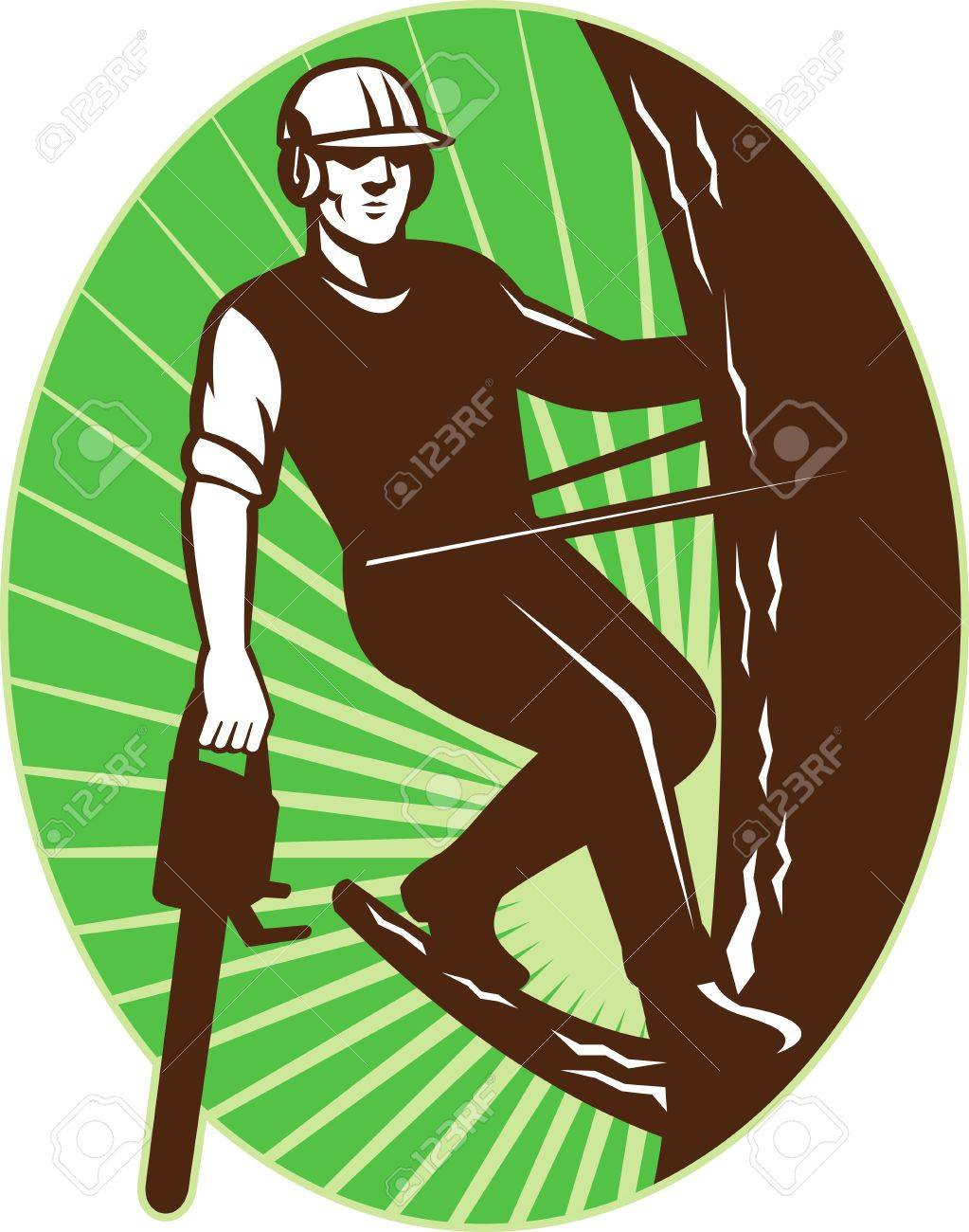 Illustration Of An Arborist Tree Surgeon With Chainsaw Climbing ...