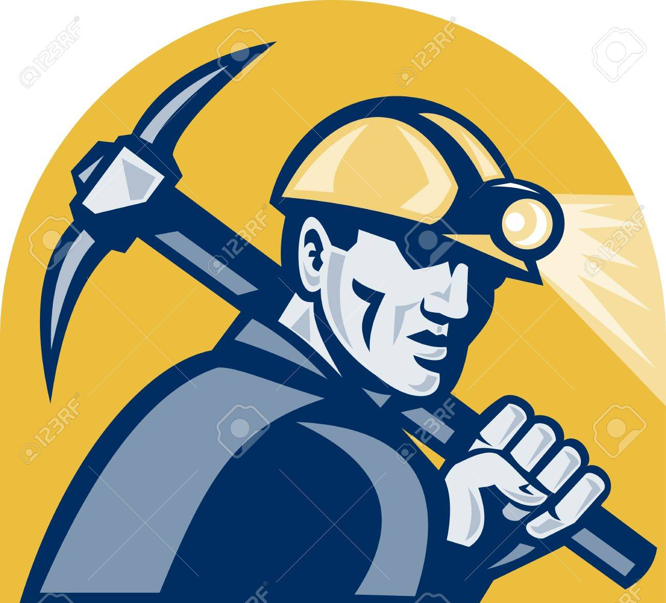illustration of a coal miner working with pickaxe viewed from the side looking front isolated white background done in retro woodcut style. Stock Illustration - 12107296