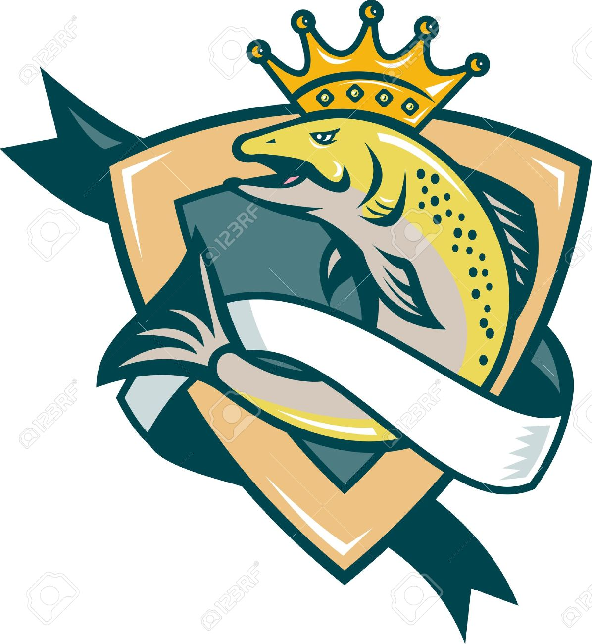 Illustration Of A King Salmon Fish With Crown Jumping With Shield