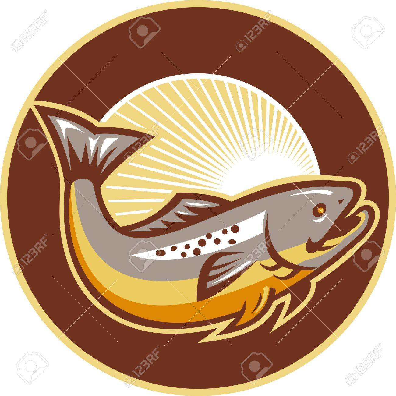 Freshwater fish jumping - Illustration Of A Trout Fish Jumping Set Inside Circle With Sunburst In Background Done In Retro