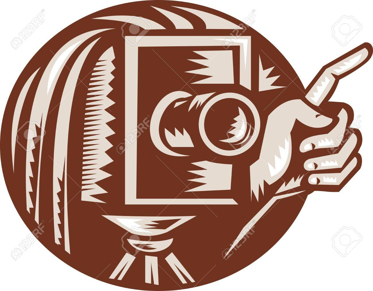 Illustration of a vintage bellow camera with hand pointing done in retro woodcut style set inside circle Stock Vector - 12554619