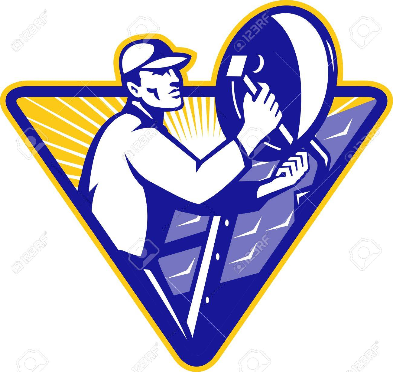 Illustration of a tradesman worker installing satellite dish set inside triangle done in retro style Stock Vector - 12840626