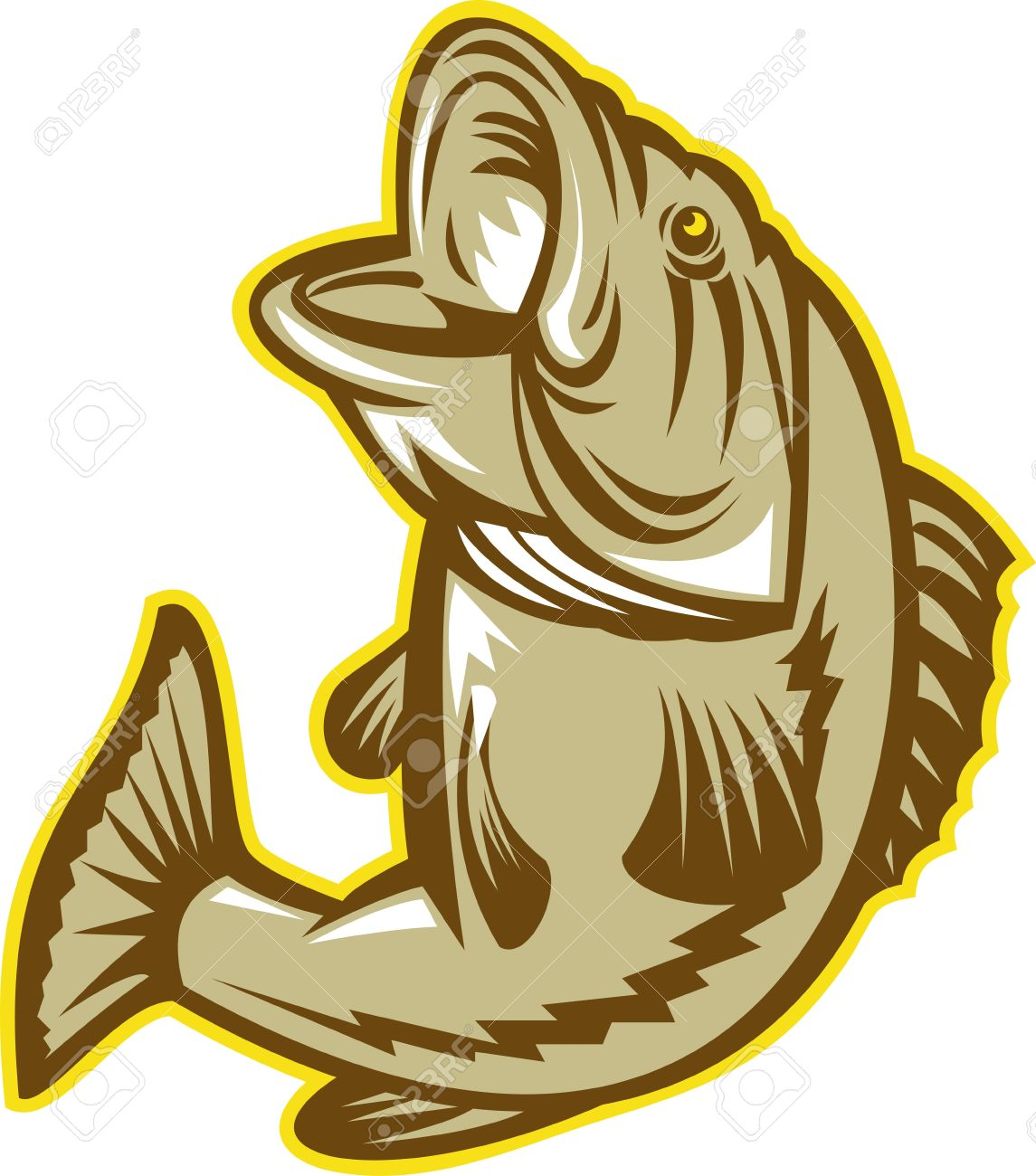 Freshwater fish jumping - Bass Fish Jumping Illustration Of A Largemouht Bass Fish Jumping Done In Retro Woodcut Style