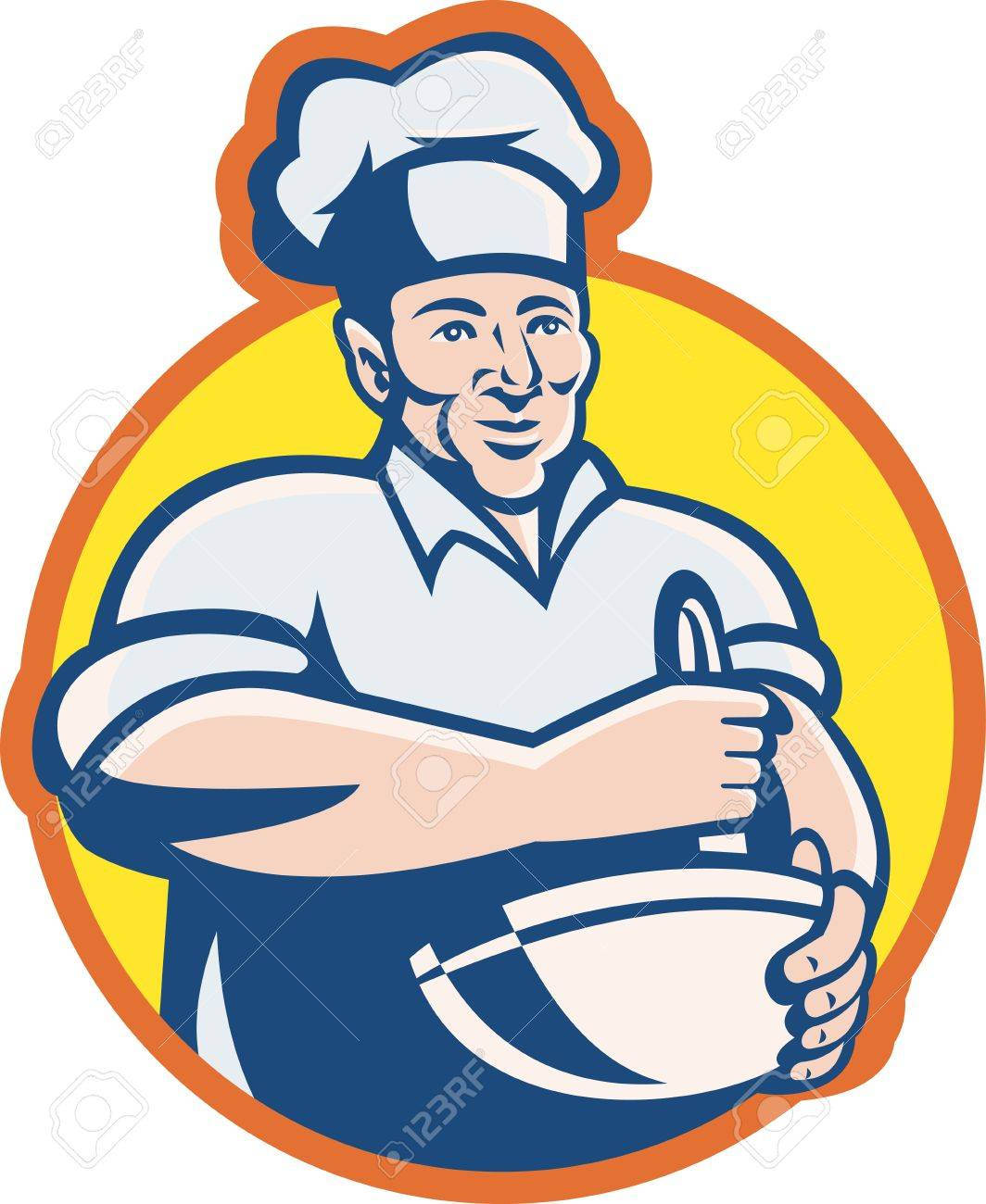 Illustration Of A Cook Chef Baker With Mixing Bowl Facing Front ...
