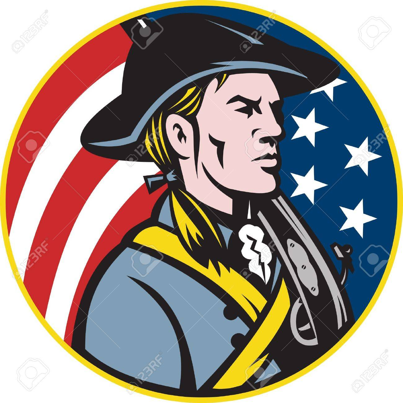 illustration of an american patriot minuteman revolutionary soldier rh 123rf com minuteman clipart Minuteman Silhouette