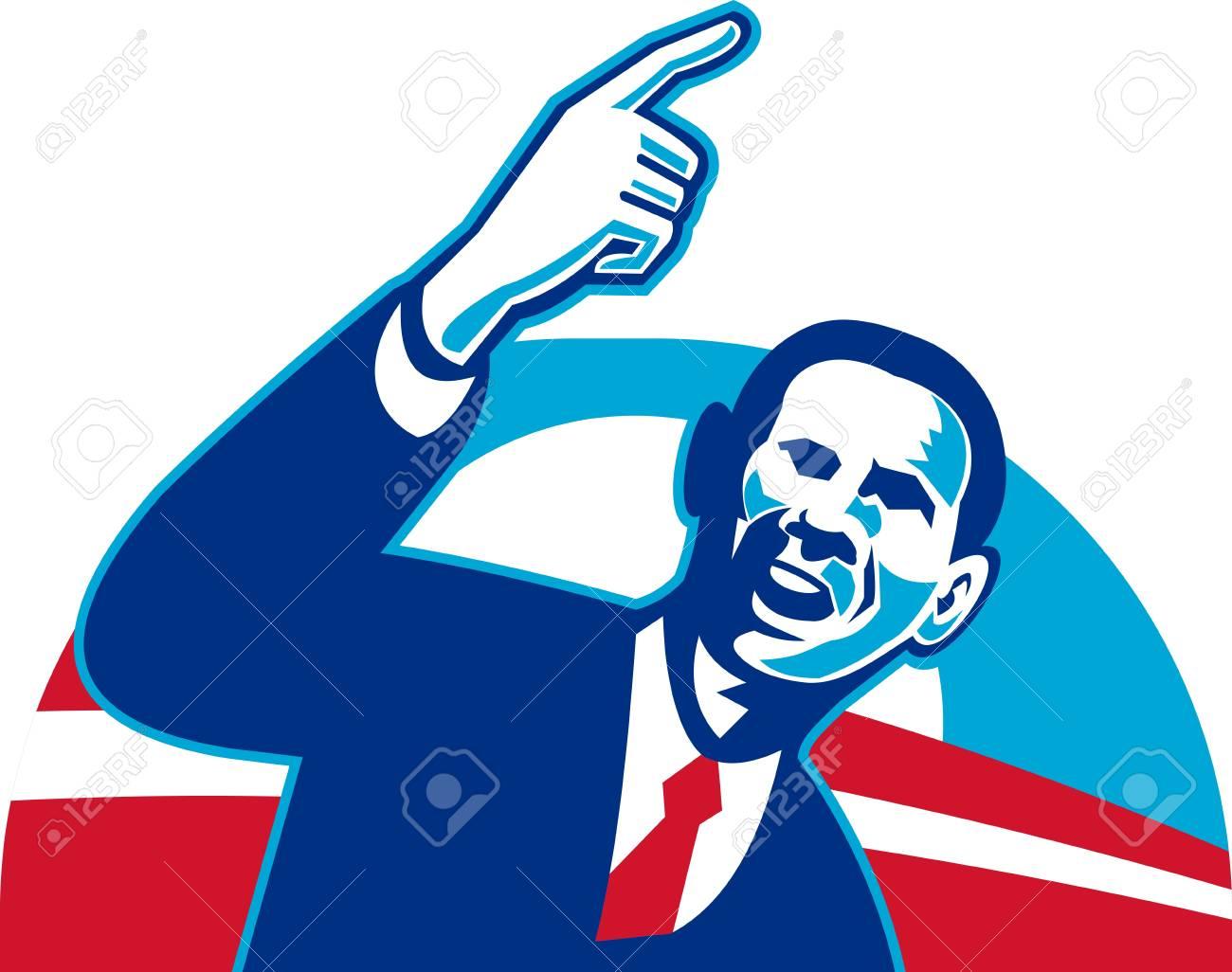 illustration of american president barack obama pointing forward