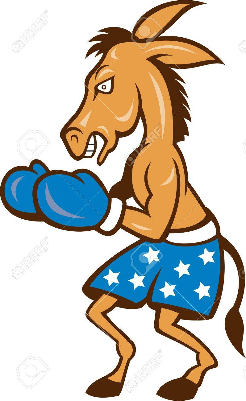 Cartoon illustration of a donkey jackass boxer with boxing gloves and stars shorts as democrat mascot Stock Vector - 13541983
