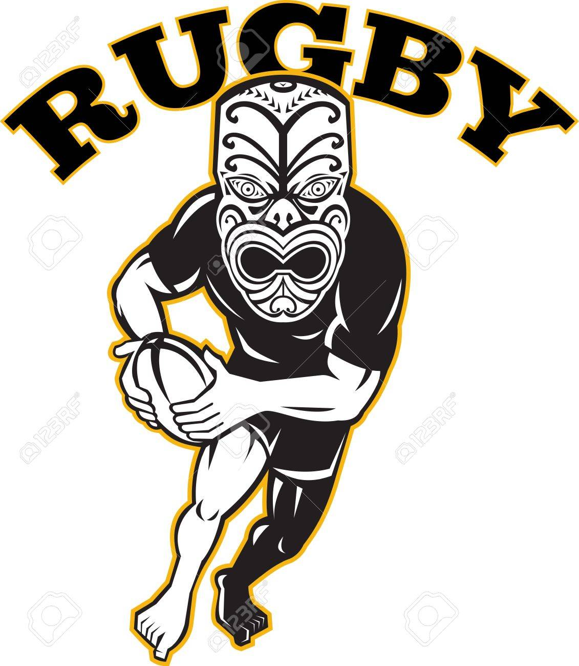 Illustration of a Maori warrior rugby player with mask running with ball facing front on isolated white background Stock Vector - 13541991