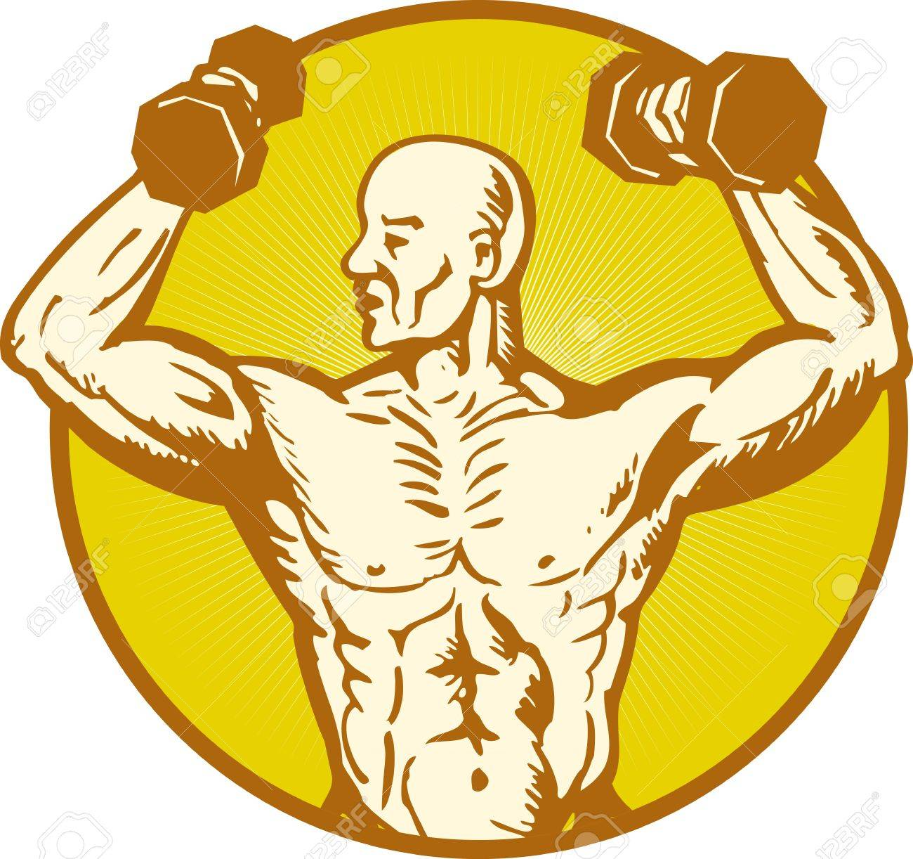 Illustration Of Male Human Anatomy Body Builder Flexing Muscle ...