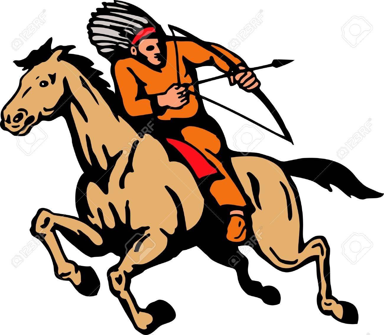 illustration of american indian riding a horse shooting arrow rh 123rf com