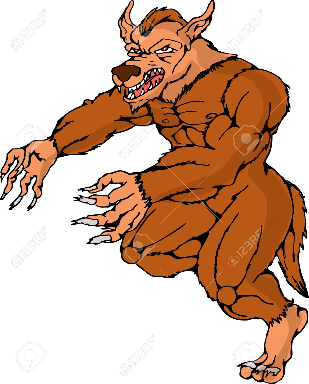 illustration of a cartoon werewolf wolfman running attacking on isolated white background Stock Vector - 13753537