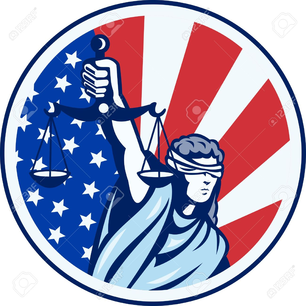 Illustration of lady with blindfold holding scales of justice with American stars and stripes flag set inside circle done in retro style. Stock Vector - 14029337