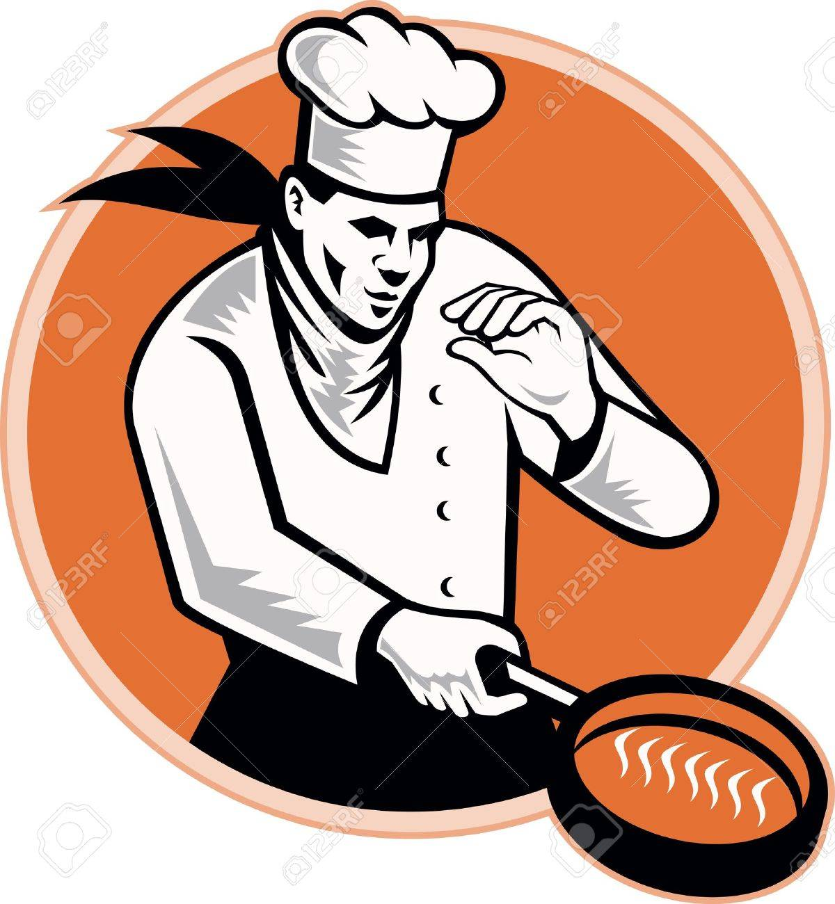 Retro Illustration Of A Chef Cook Cooking With Frying Pan Set ...