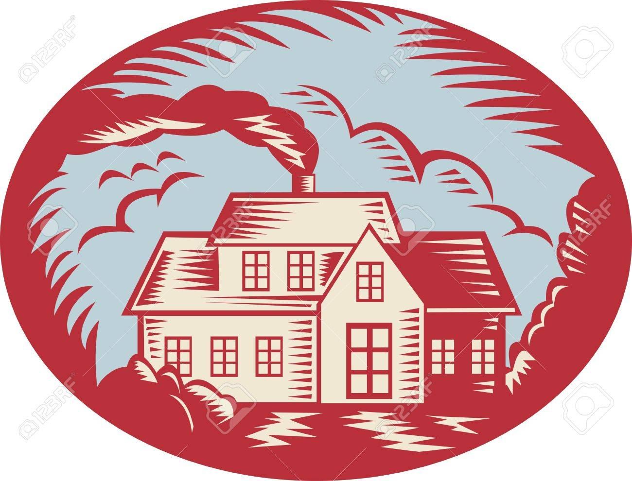 Retro illustration of a house homestead cottage viewed from front set inside ellipse oval done in woodcut style. Stock Vector - 14305980