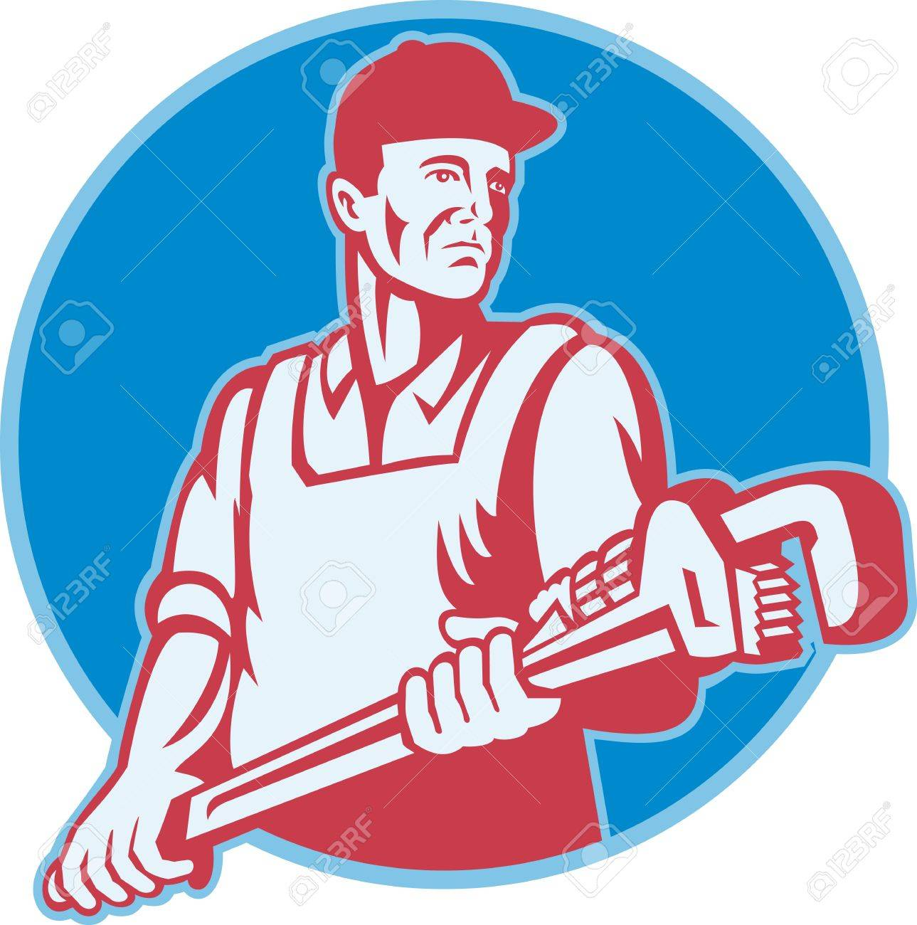 Retro illustration of a plumber worker carrying a giant adjustable monkey wrench viewed from front set inside circle on isolated white background. Stock Vector - 14305982