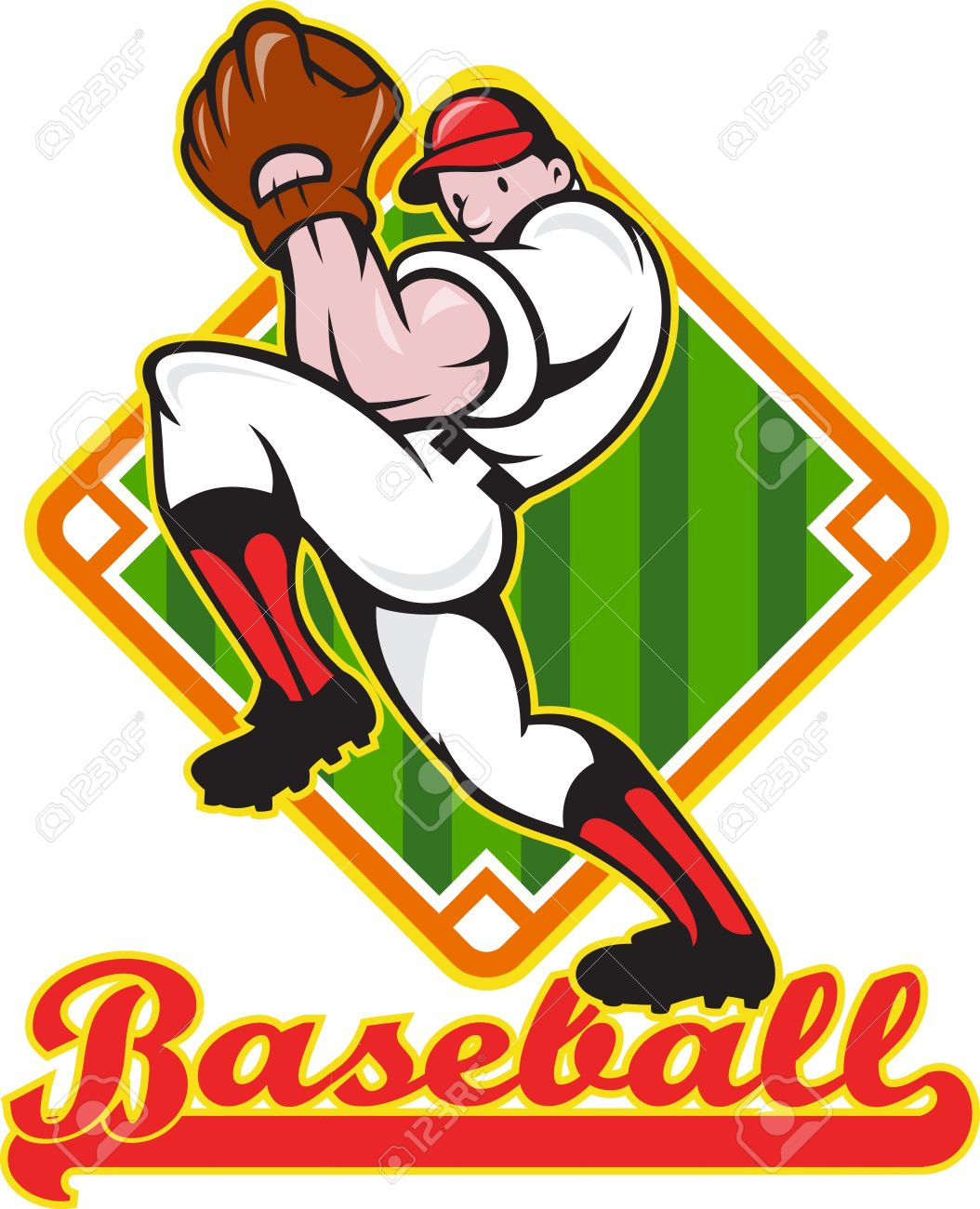 Cartoon Ilustración De Una Pelota De Jugador De Béisbol Lanzadores ...