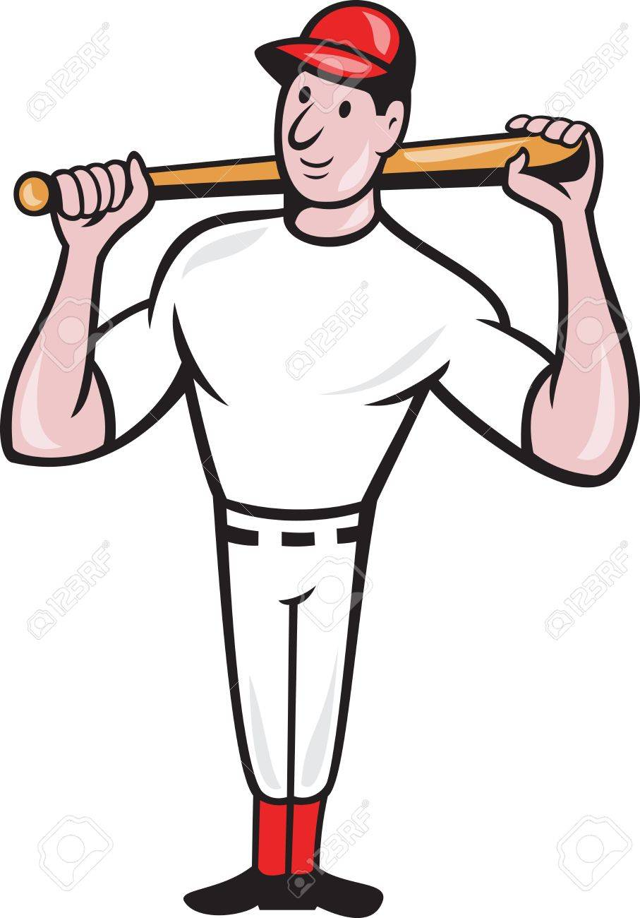 Illustration of a american baseball player batting bat on shoulder cartoon style isolated on white background. Stock Vector - 14629304