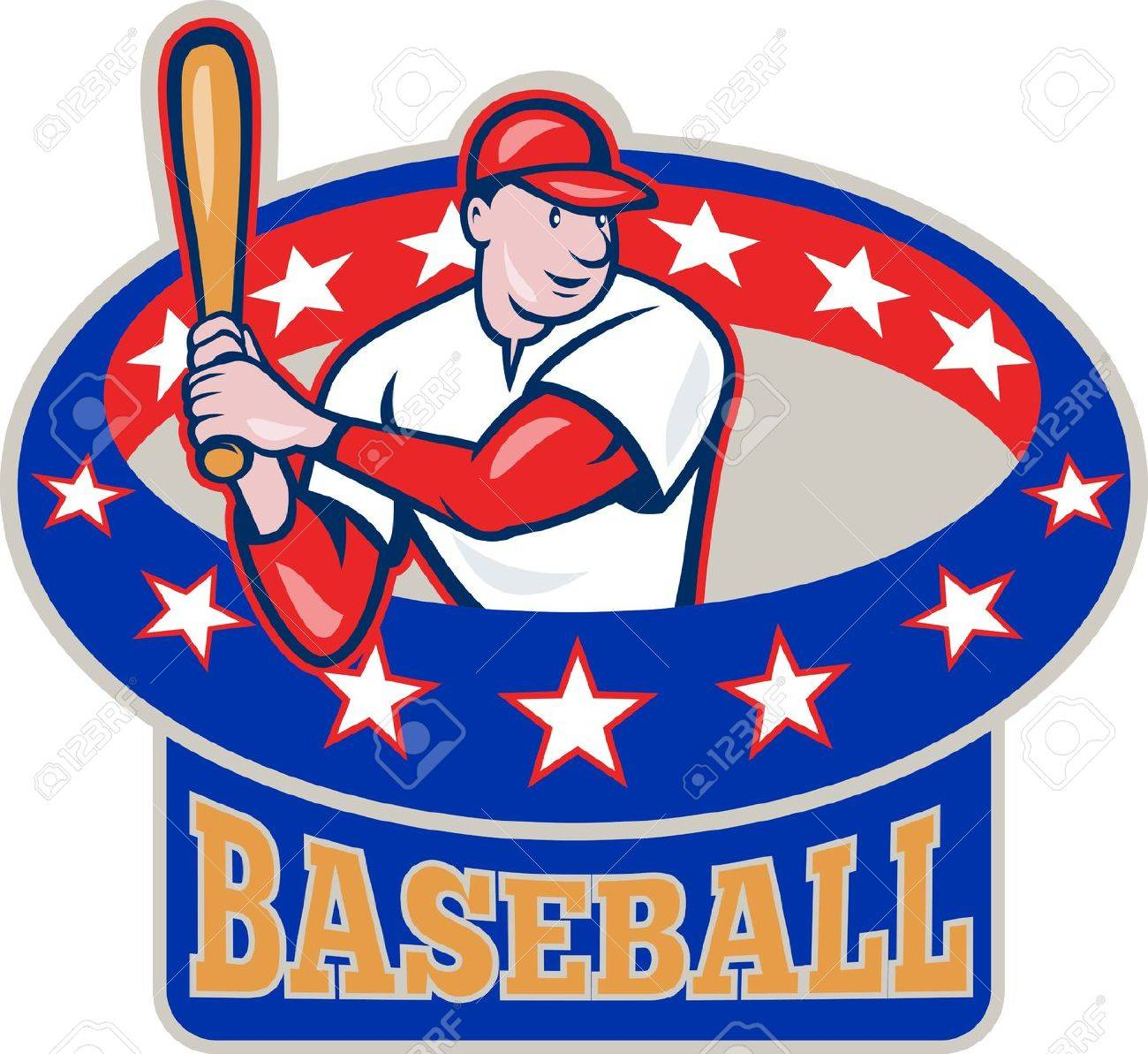 Illustration of a american baseball player batting cartoon style isolated on white with ring and stars around  and text wording baseball Stock Vector - 14629292