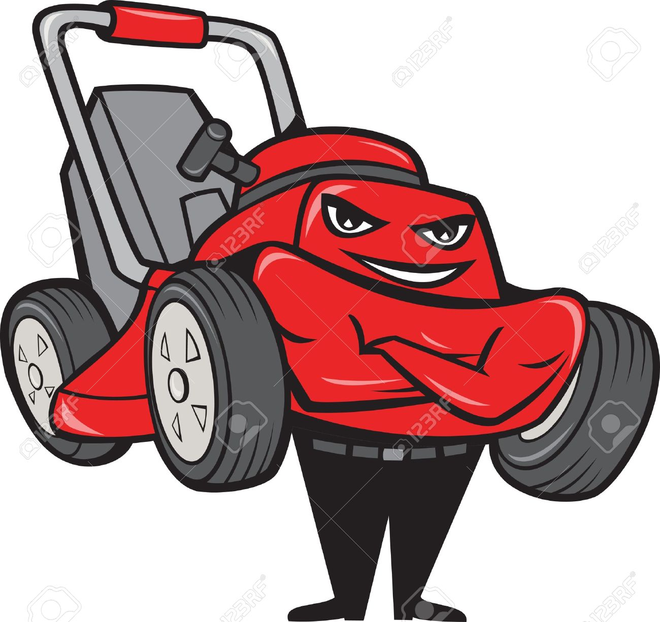 Illustration of lawn mower man smiling standing with arms folded facing front done in cartoon style on isolated white background. Stock Vector - 16263307