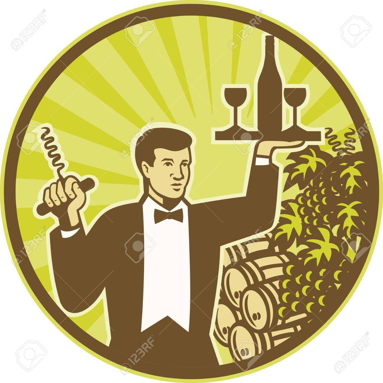 Illustration of a waiter holding cork screw and serving wine bottle and glass on platter with wine barrel and grape vine and fruit in background set inside circle retro style Stock Vector - 16392915