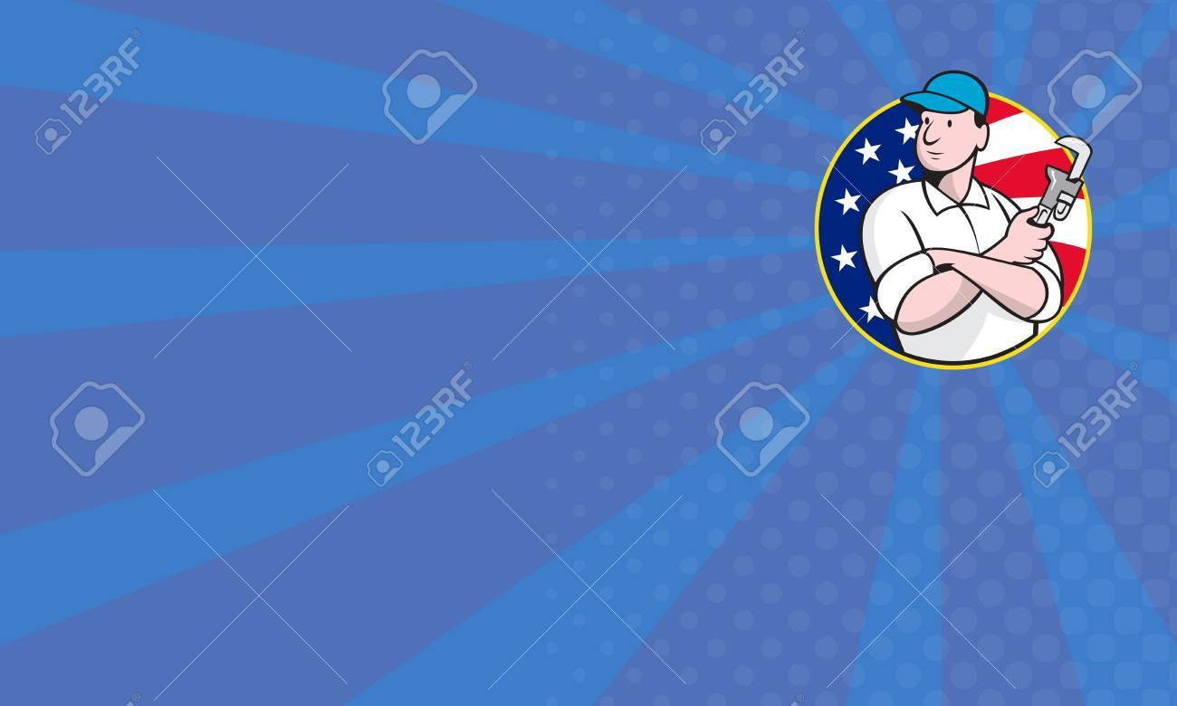 Cartoon illustration of an American plumber worker repairman tradesman with adjustable monkey wrench set inside circle with stars and stripes flag. Stock Illustration - 16471491