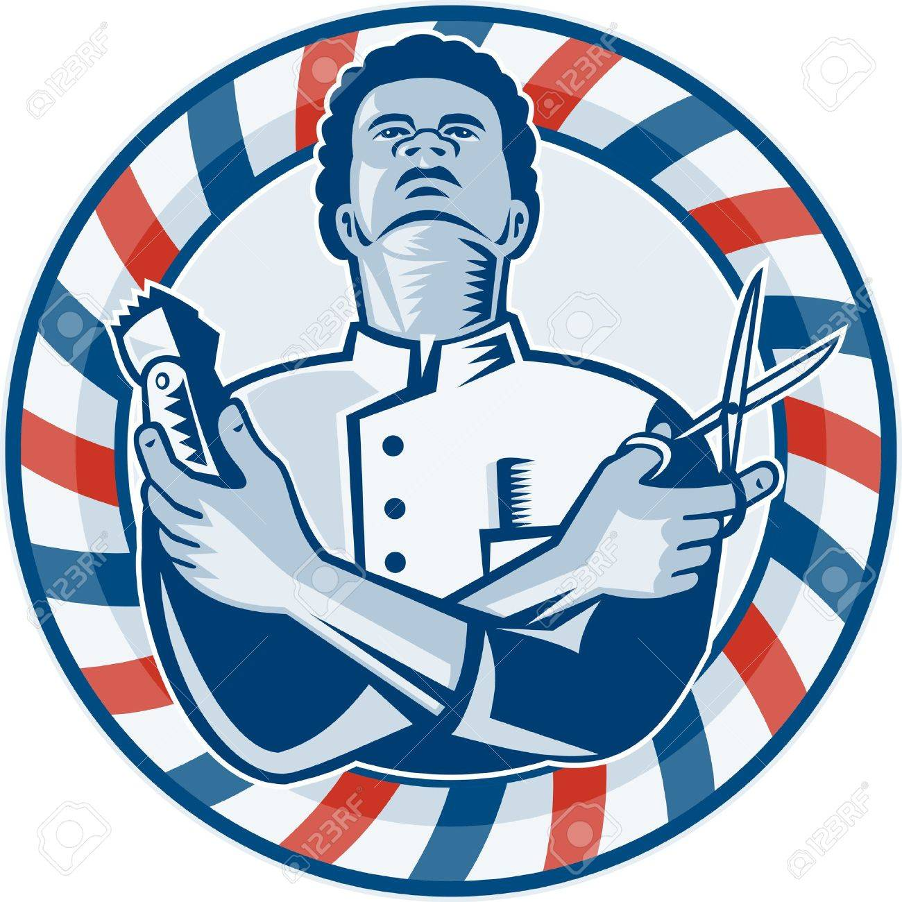 Clip art vector of vintage barber shop logo graphics and icon vector - Vector Similar Images Add To Likebox Barber Shop Illustration Of An African American Barber With Arms Crossed Holding A Hair Clipper