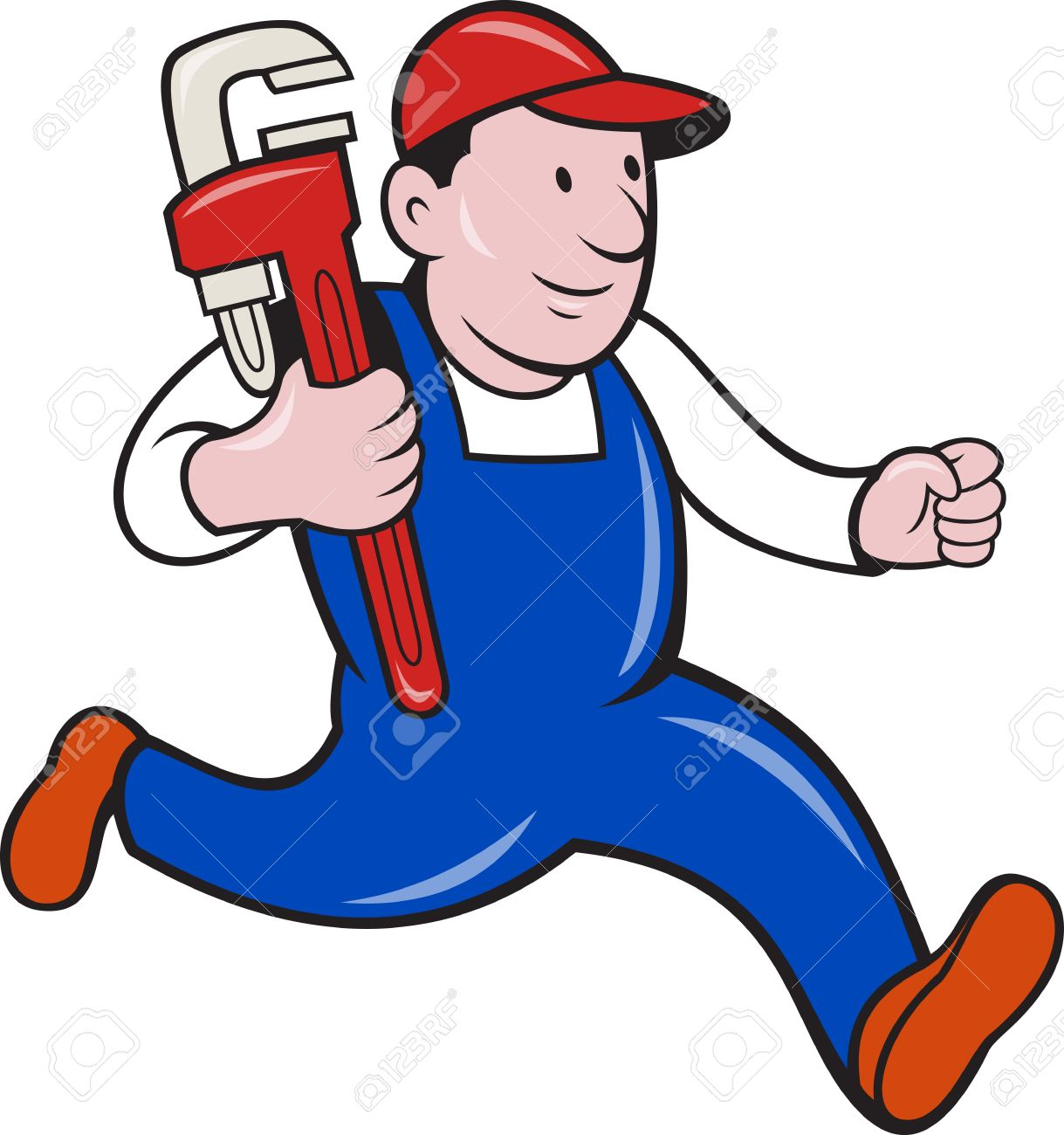 Illustration of a plumber with monkey wrench done in cartoon style on isolated background. Stock Vector - 18233944