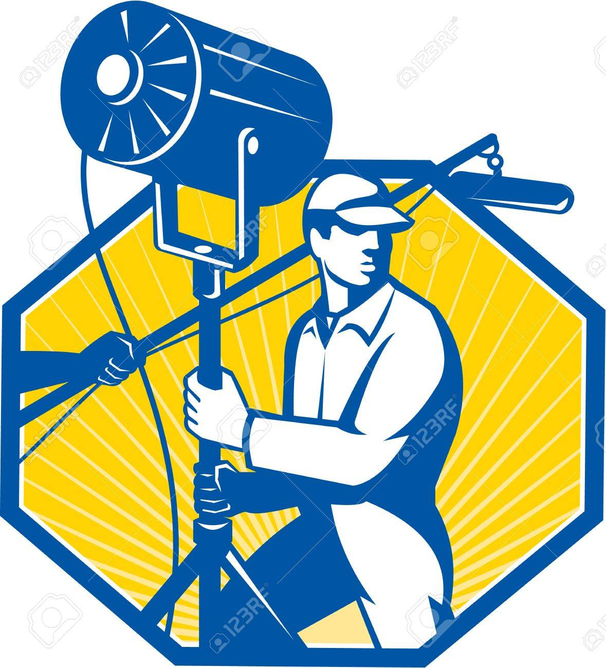Illustration of a electrical lighting technician crew with fresnel spotlight and sound boom microphone set inside  sc 1 st  123RF Stock Photos & Illustration Of A Electrical Lighting Technician Crew With Fresnel ... azcodes.com