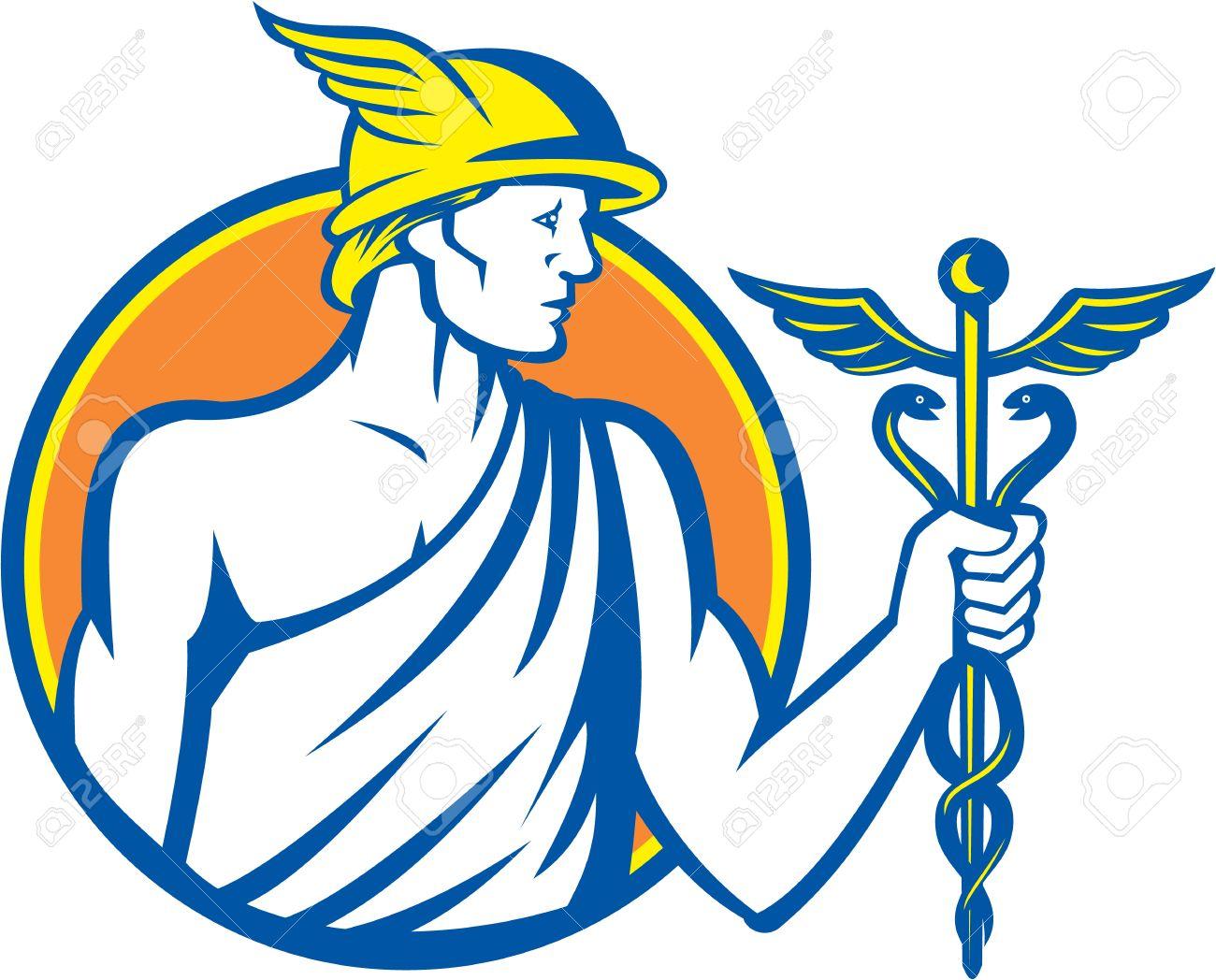 Ilustración Del Dios Romano Mercurio Dios Patrón De La Ganancia