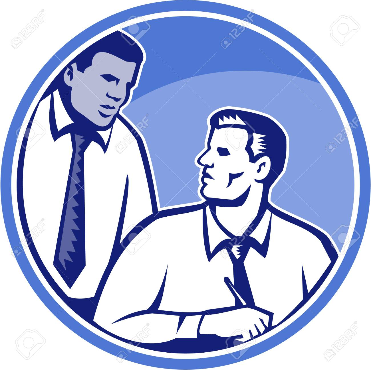 Illustration of a businessman office worker facing front writing on desk table with  black colleague in background done in retro woodcut style set inside circle. Stock Vector - 21426240