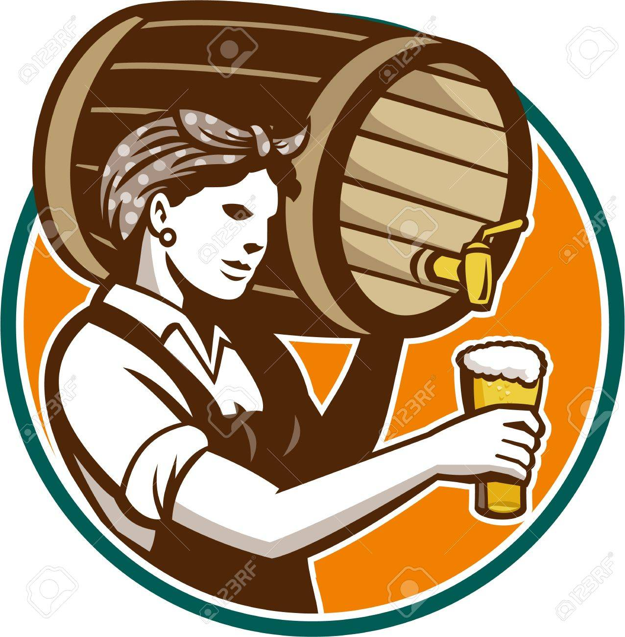 Retro style illustration of a female woman bartender pouring keg barrel of beer into pint glass set inside circle on isolated white background. Stock Vector - 21699919