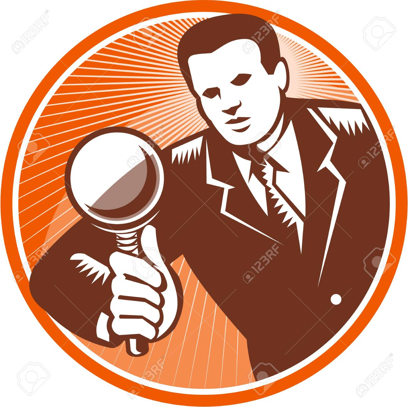 Illustration of a businessman facing front looking holding magnifying glass lens done in retro woodcut style set inside circle. Stock Vector - 21699926