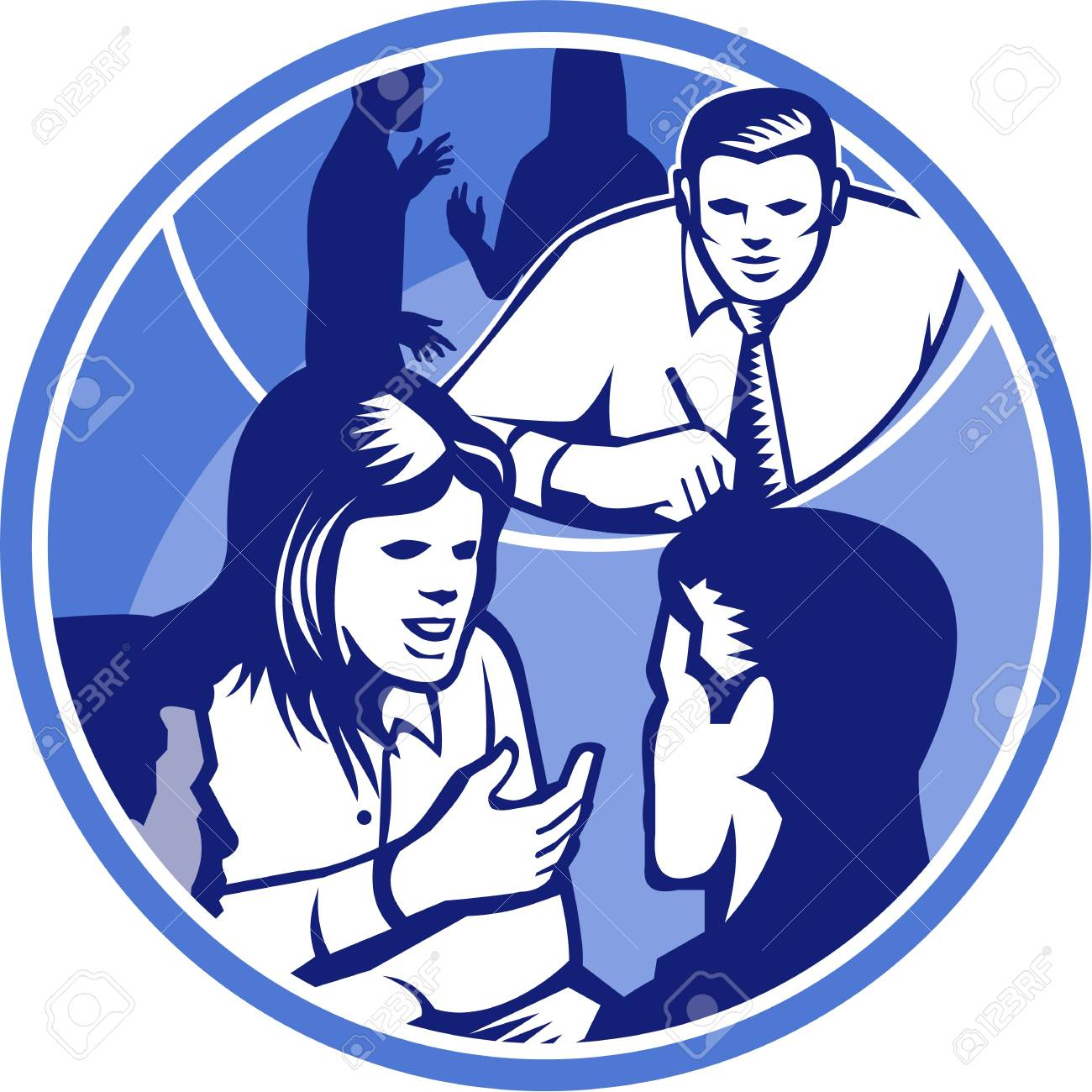 Illustration of a female office worker businesswoman talking and in discussion with colleagues done in retro woodcut style set inside circle. Stock Vector - 21699940