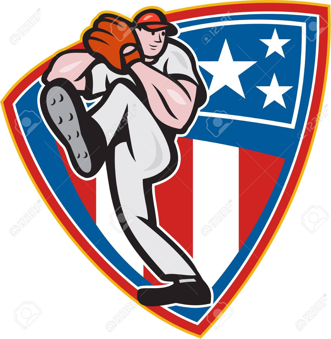 Illustration of a american baseball player pitcher outfilelder throwing ball set inside stars and stripes shield isolated on white background. Stock Vector - 22605474