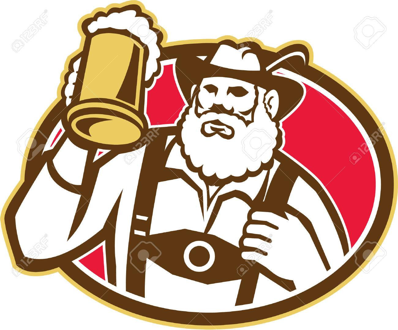 Illustration of a Bavarian beer drinker raising beer mug drinking looking up wearing lederhosen and German hat set inside oval done in retro style Stock Vector - 23203379