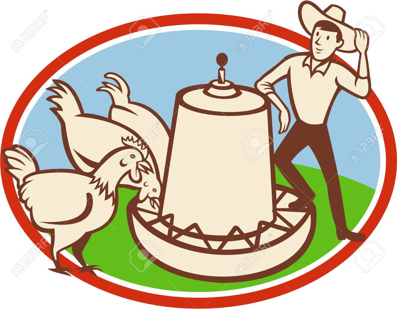 Illustration of a group of hen chicken feeding on feeder bowl with male farmer set inside oval done in cartoon style. - 23661455
